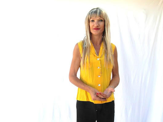 Yellow silk blouse silk top sleeveless silk by frenchvintagedream