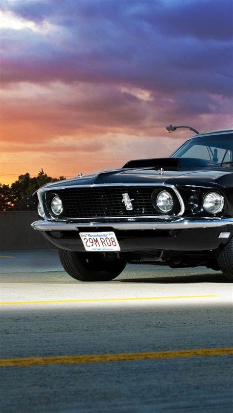 ford mustang  black front view