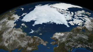 Image of the Arctic sea ice on September 9, 2008.