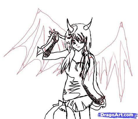 step    draw  anime demon girl