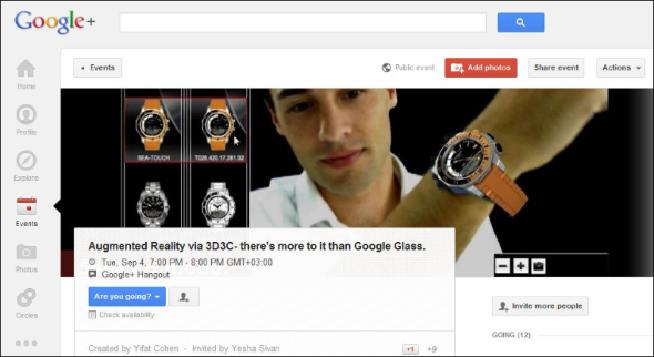 "Googl+ Hangout  Augmented Reality ala 3D3C"" 04-Sep-2012"