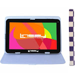 "LINSAY 10.1"" Quad Core Bundle Tablet with Square Case - White/Purple Android 9.0 PIE 2GB Ram 16GB Storage, Adult Unisex, Black"
