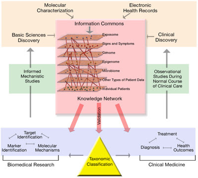 This diagram illustrates a comprehensive biomedical knowledge network that suppo