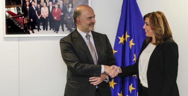 La presidenta de la Junta de Andalucía, Susana Díaz, con el comisario europeo de Asuntos Económicos de la UE, Pierre Moscovici. EFE/Archivo