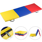 Gymax Colorful Tri-Fold Gymnastics Mat 6'x2' Folding Fitness Exercise w/ Carrying Handles