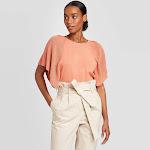 Women's Crewneck Flutter Short Sleeve Pullover Sweater - Prologue Orange