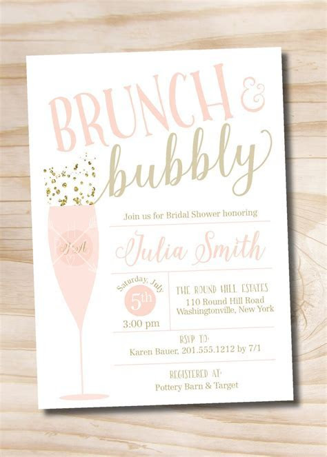 Brunch and Bubbly Bridal Shower Invitation, Confetti