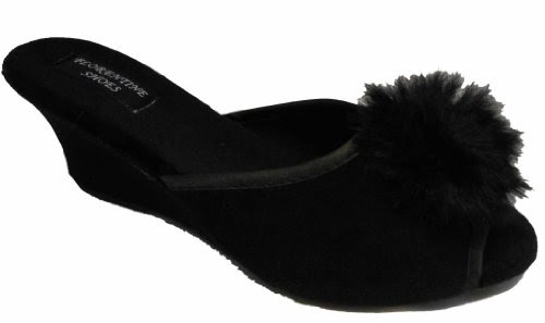 8e6e1b7d20909c NEW Ladies SEXY Boudoir Wedge Mule Slippers BLACK UK 6