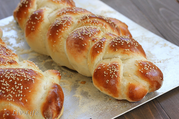 Holiday Bread Braid topped with Golden Sesame Seeds