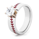 Women's Cobalt Diamond Baseball Ring   Titanium Buzz