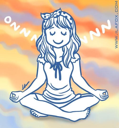 Mudando o ritmo, evitando stress, não deixe o stress te pegar, tranquilidade, zen, ilustração by ila fox