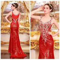 Cheap long red evening dresses