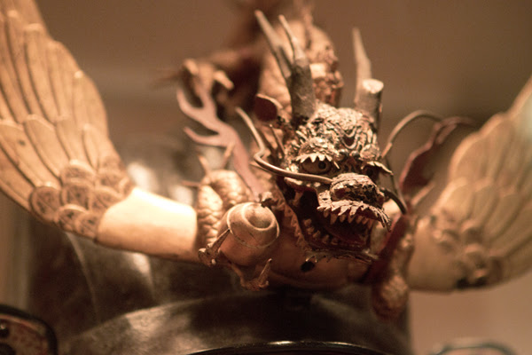 close up of samurai helmet, too many detail for one purpose!