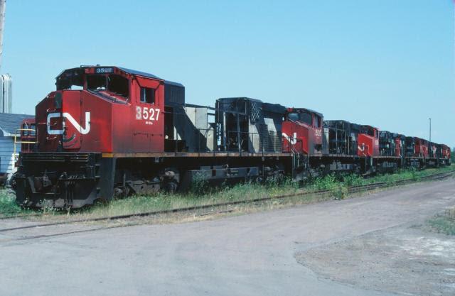 CN M420 Scrap Line in Moncton. Slide by WA Gleason.