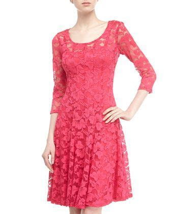 Long Sleeve Lace Cocktail Dress, Geranium by Chetta B at