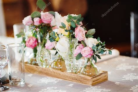 wedding decor with pink peonies and roses ? Stock Photo