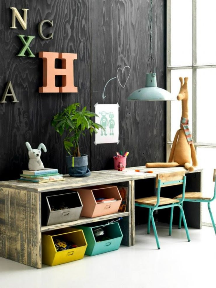 double desk and toys storage