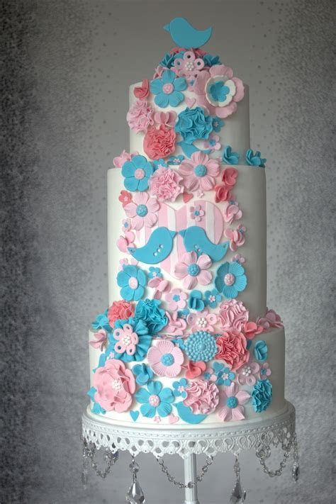 Pink And Teal Wedding Cake   CakeCentral.com