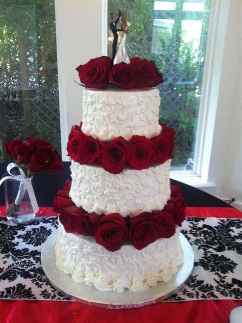 White Scrolls &Fresh Red Rose Wedding Cake