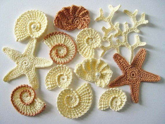 Crochet Sea Motifs, Set  of 12- Sea Shells, Sea Stars, Coral Branch, MADE TO ORDER