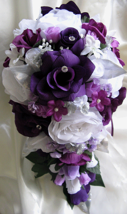 17pcs Wedding Bouquet Bridal Silk flowers PLUM PURPLE LAVENDER SILVER Cascade  eBay