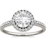 Charles & Colvard Moissanite Halo Ring - White Gold