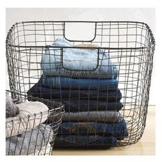 Decorative wire basket for organizing or laundry | Friday Favorites at www.andersonandgrant.com