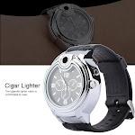 TOPINCN Cigarette Cigar Lighter Watch Quartz Watch Refillable Butane Lighter Watch Black