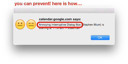 Disable annoying Google Gmail Calendar alert popup dialog box and improve your livelihood for good