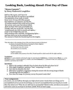 High School First Day of School Poetry Activity - Close Re
