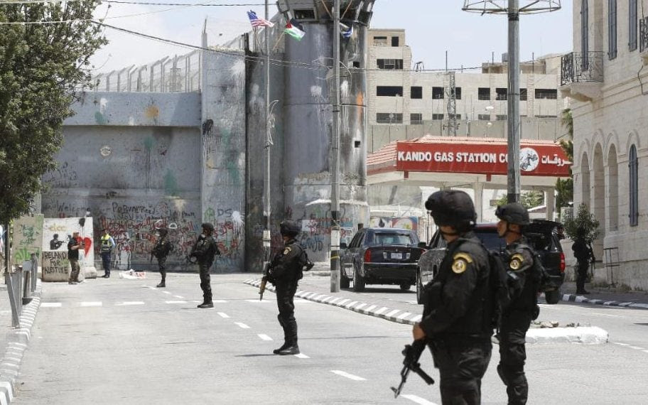 Security officials line the streets during Donald Trump's visit to Israel