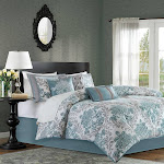 Bella 7 Piece Comforter Set Teal / Queen