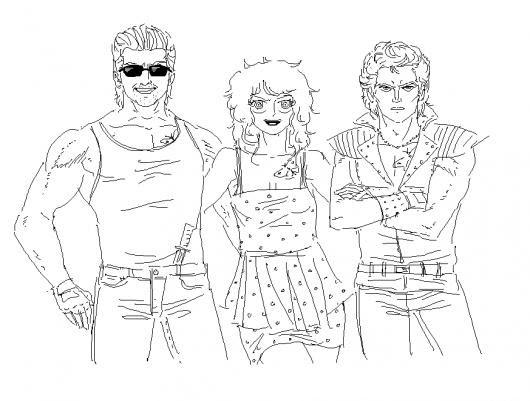 Dibujo De 3 Amigos Rockeros Dos Hombres Y Una Mujer Para Pintar Y