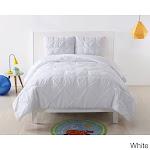 My World Pinch Pleat Solid Comforter Set White 3 Piece Queen, Full - Queen, Full