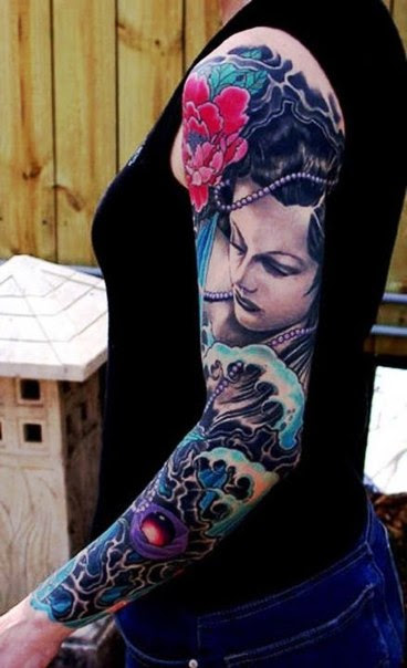 Pearl Necklace Japanese Girl Tattoo Sleeve Best Tattoo Ideas Gallery