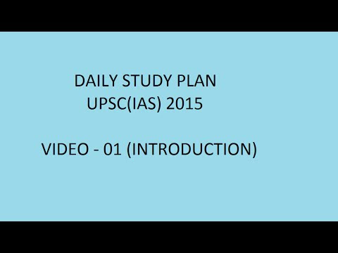 Introduction V-01 (Daily Study Plan - UPSC 2015) - YouTube