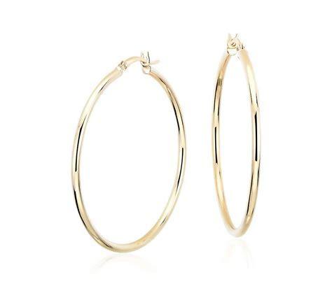 "Large Hoop Earrings in 14k Yellow Gold (1 5/8"")   Blue Nile"