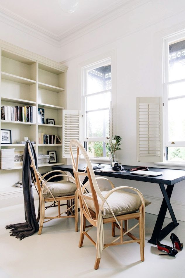 Le Fashion Blog Australian Blogger Brooke Testoni Bright Minimal Home Interior Design Office Black Desk French Wood Chairs