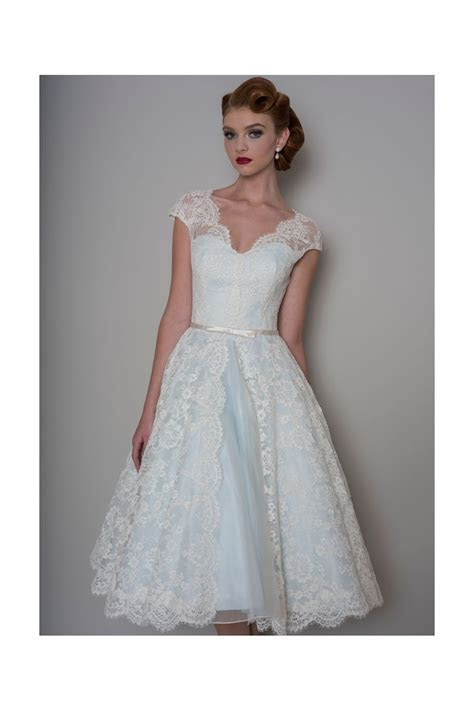 LB142 Bella Tea Length Lace Blue Wedding Dress