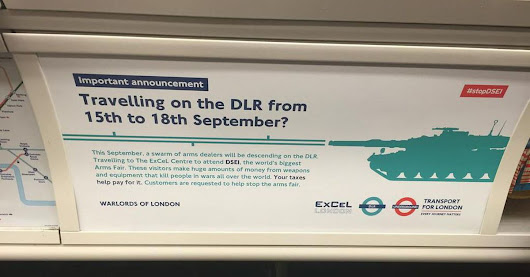 Fake adverts are protesting a massive arms fair in London