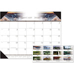 House of Doolittle Recycled One-Color Photo Monthly Desk Pad Calendar, 22 x 17