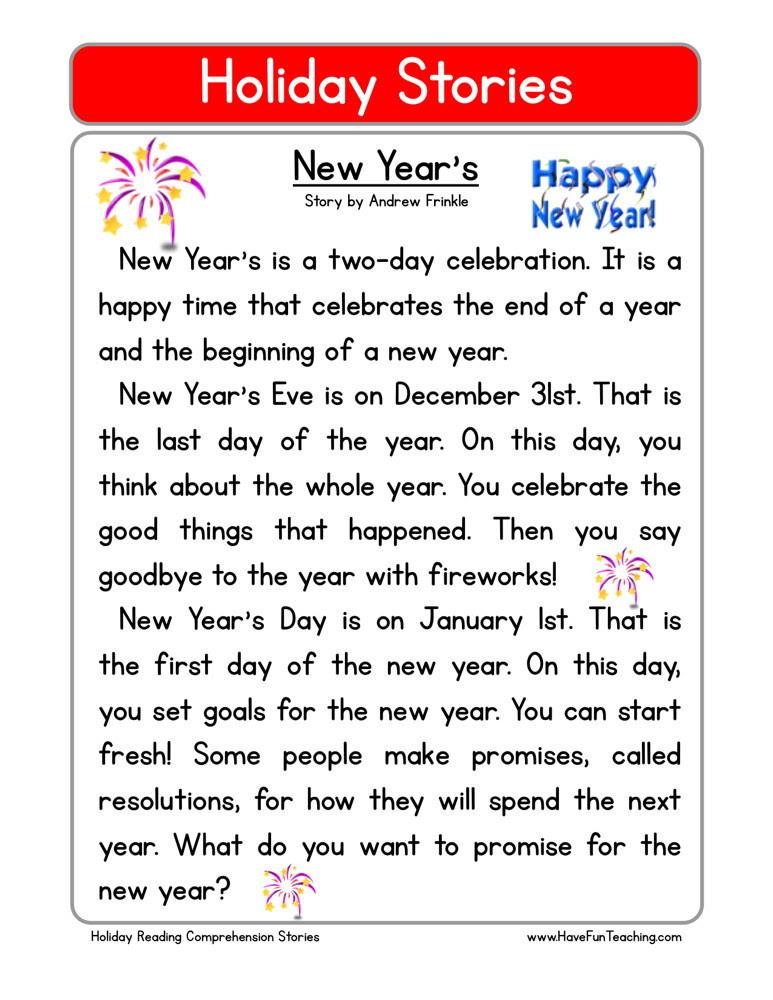 Reading Prehension Worksheet New Year S