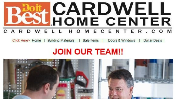 Screenshot of Cardwell Home Center email.