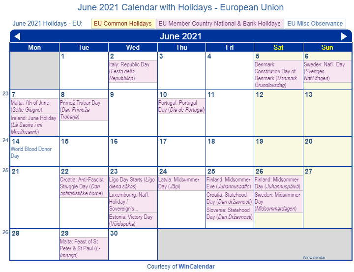 2021 June Calendar With Holidays | Printable March