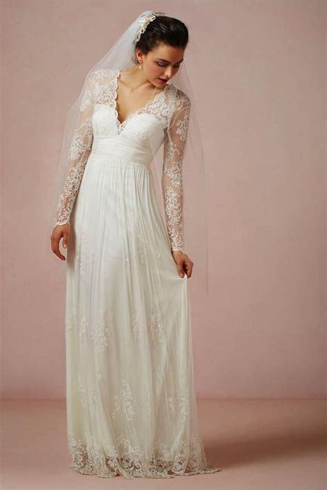 Matural V Neck Long Sleeves Empire Waist Floor Length Lace