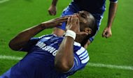 Chelsea's forward Didier Drogba celebrates after scoring a goal during their UEFA Champions League final football against Bayern Munich at Fussball Arena stadium in Munich. Chelsea beat Bayern Munich 4-3 on penalties to win the Champions League on Saturday after the two sides had been locked at 1-1 at the end of extra-time. (AFP Photo/Patrik Stollarz)