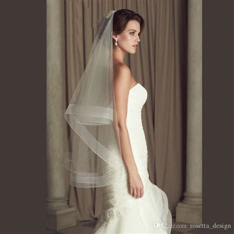 Wedding Accessories Ribbon Edge Fingertip Veil With 2