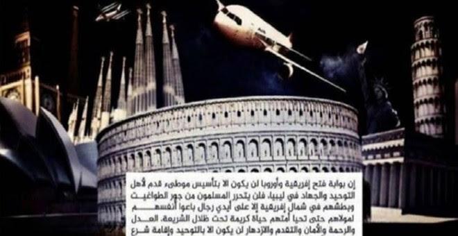 Imagen distribuida hace un año por el Estado Islámico sobre loos objetivos del terrorismo yihadista en el que se incluía la Sagrada Familia de Barcelona.