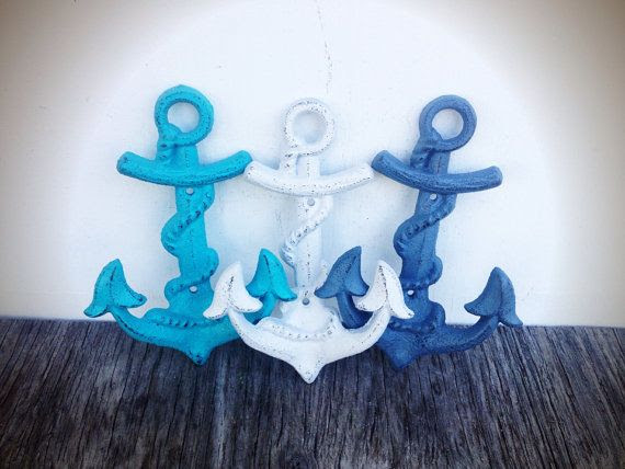 I pove these for my seaside bathroom!!! BOLD set of 3 NAUTICAL anchor hooks // slate blue grey white & aqua blue // wall towel hook // sailor beach // shabby cottage chic cast iron on Etsy, $40.00