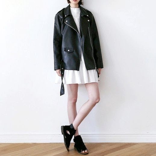 Le Fashion Blog Black Moto Jacket Pleated White Dress Cut Out flat Sandal Booties Spring Summer Style 2014 Via Cherry L Lookbook Nu photo Le-Fashion-Blog-Black-Moto-Jacket-White-Dress-Spring-Summer-Style-2014-Via-Lookbook-Nu.jpeg
